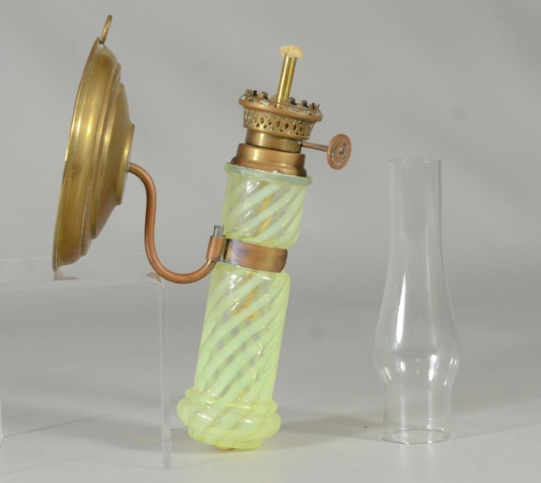 Wall mount oil lamp, spiral opalescent font