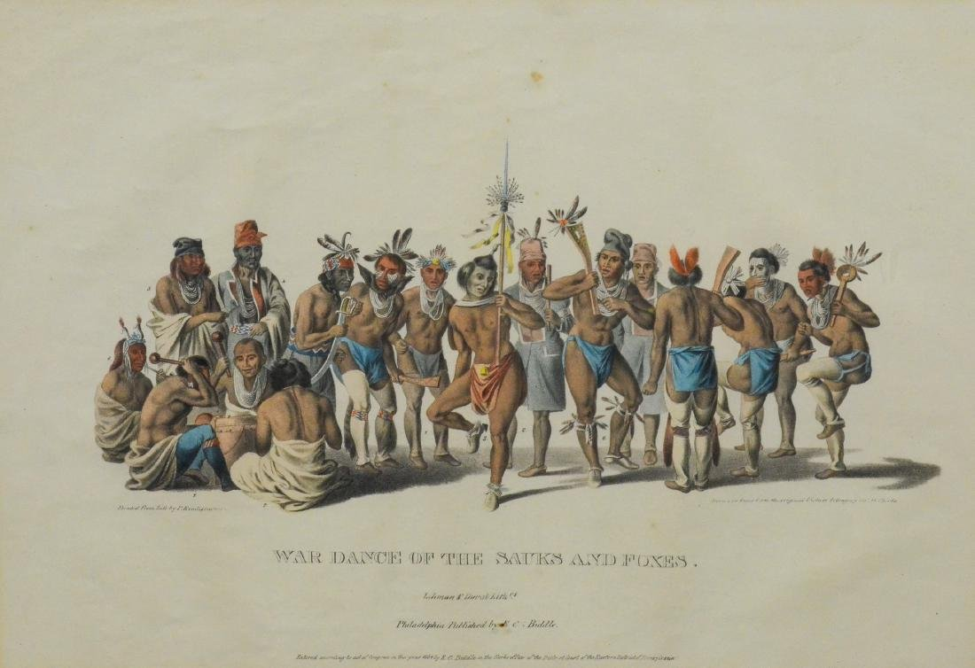 """McKenney & Hall color lithograph, """"War Dance of the .."""