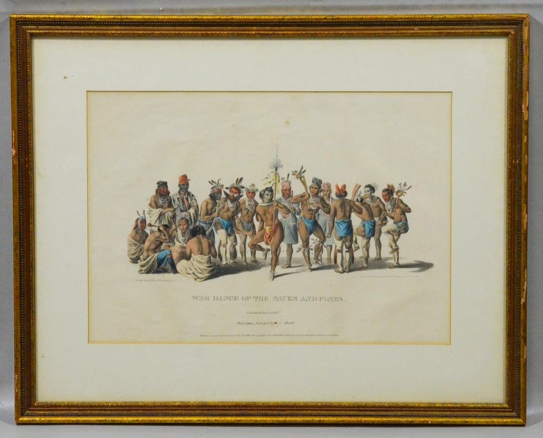 """McKenney & Hall color lithograph, """"War Dance of the .. - 2"""
