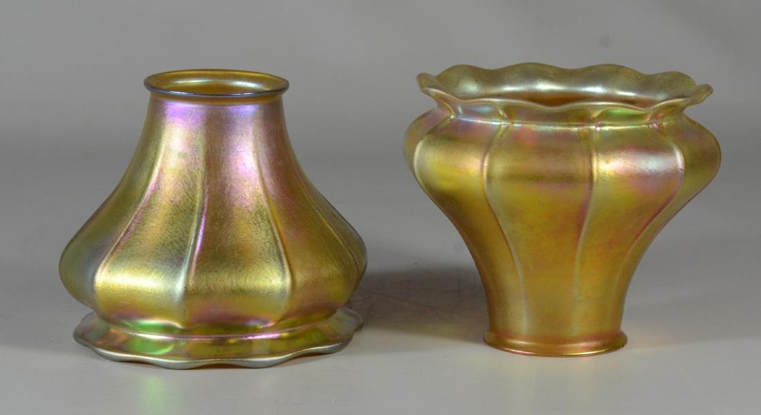 Pr gold Aurene ribbed pattern art glass shades