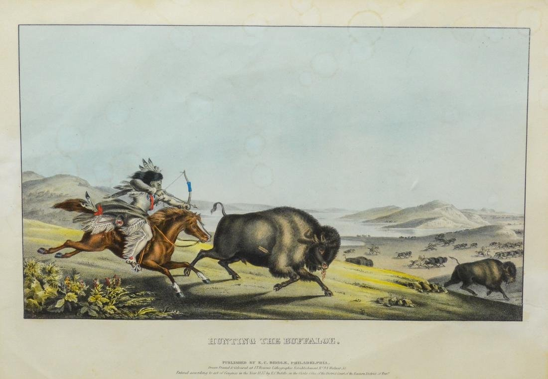 """Hand-colored lithograph on paper, """"Hunting the Buffa"""