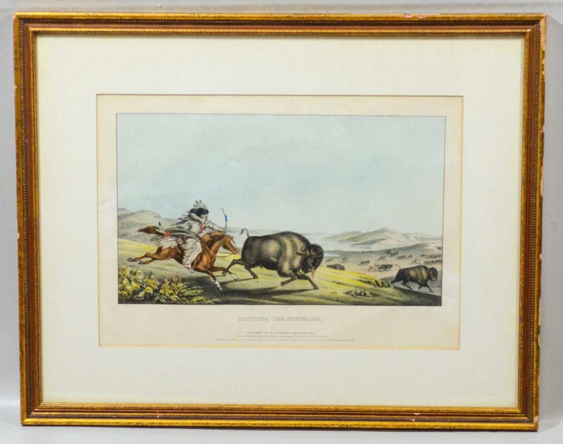 """Hand-colored lithograph on paper, """"Hunting the Buffa - 2"""