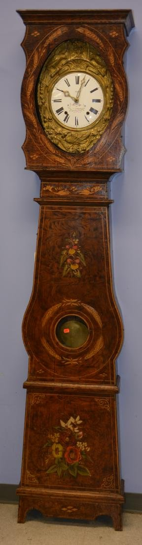 French Morbier tall clock, original paint