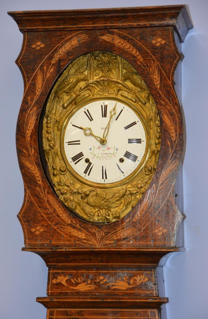 French Morbier tall clock, original paint - 2