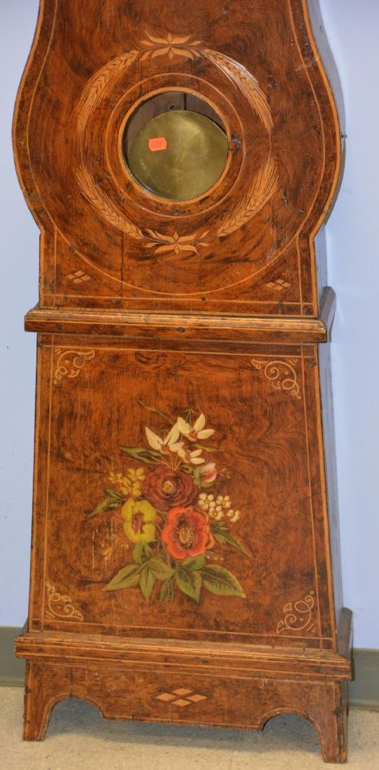 French Morbier tall clock, original paint - 4
