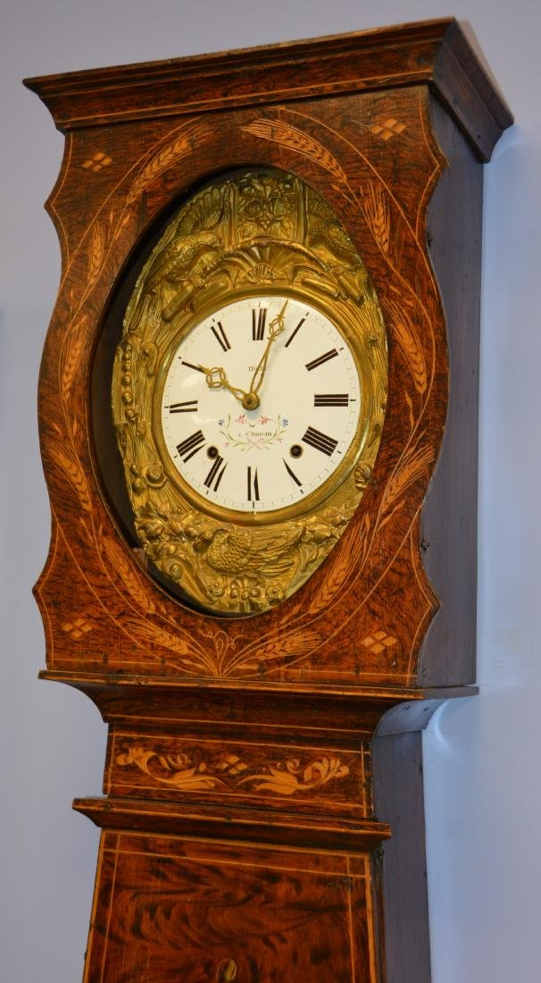 French Morbier tall clock, original paint - 5