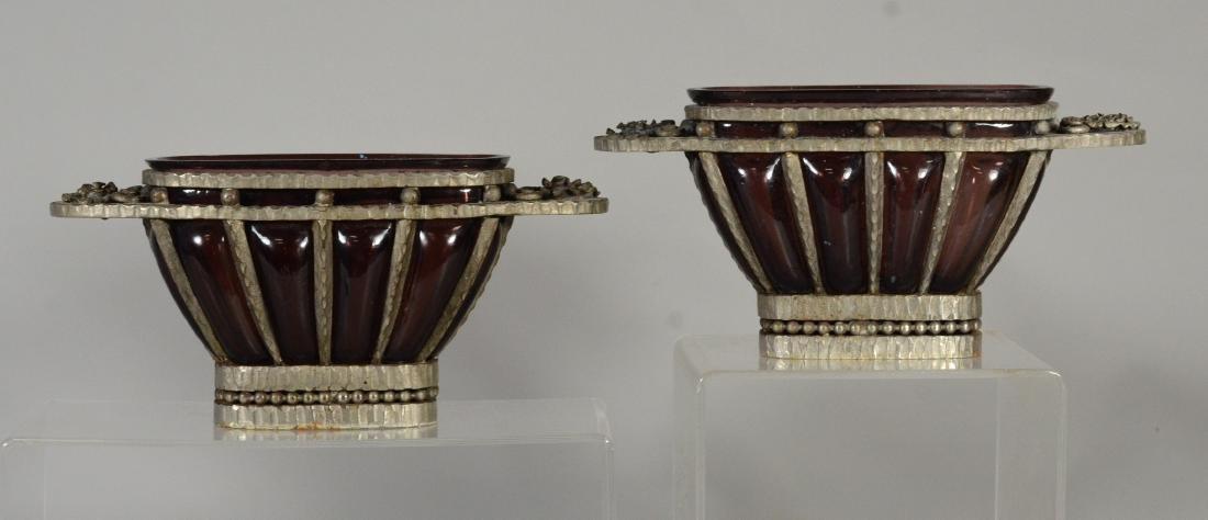 Pr Amethyst blown glass planters in pewter frames - 5