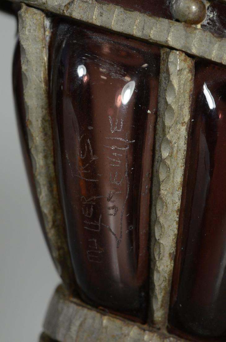 Pr Amethyst blown glass planters in pewter frames - 6