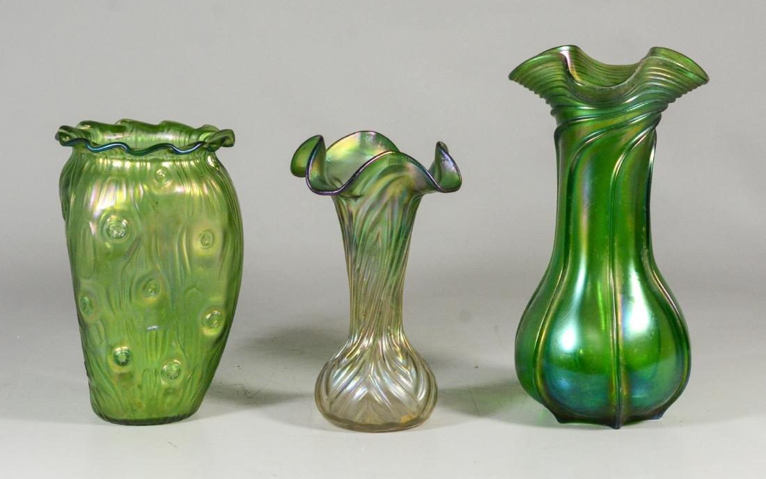 """(3) green Loetz type art glass vases, tallest 9 1/4"""""""