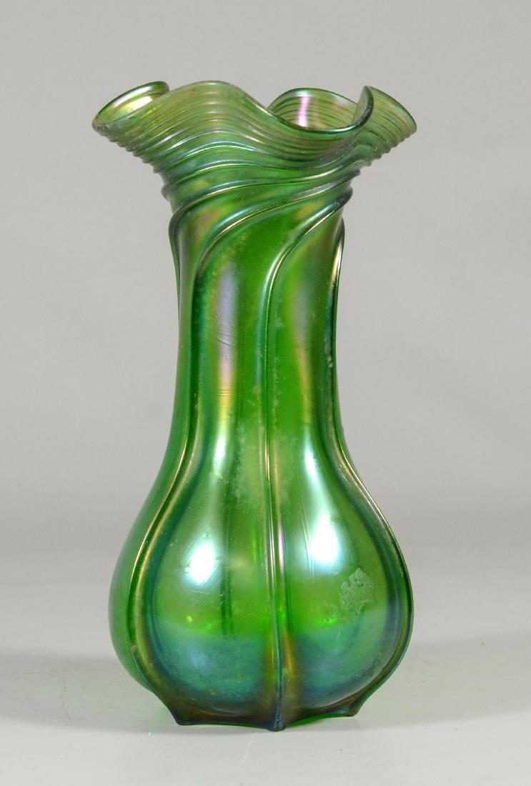 """(3) green Loetz type art glass vases, tallest 9 1/4"""" - 2"""