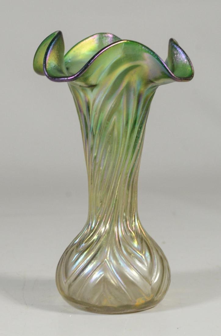 """(3) green Loetz type art glass vases, tallest 9 1/4"""" - 3"""