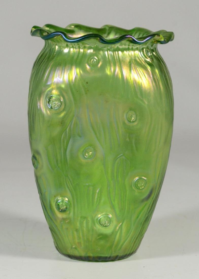 """(3) green Loetz type art glass vases, tallest 9 1/4"""" - 4"""