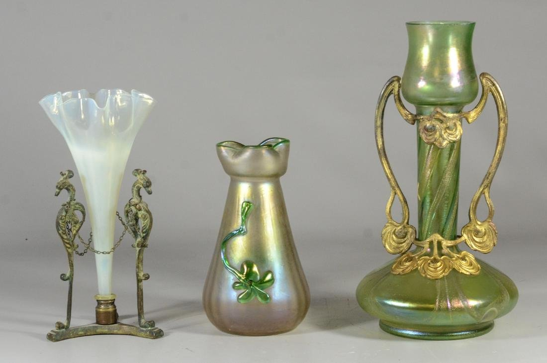 (3) iridescent Loetz type art glass vases