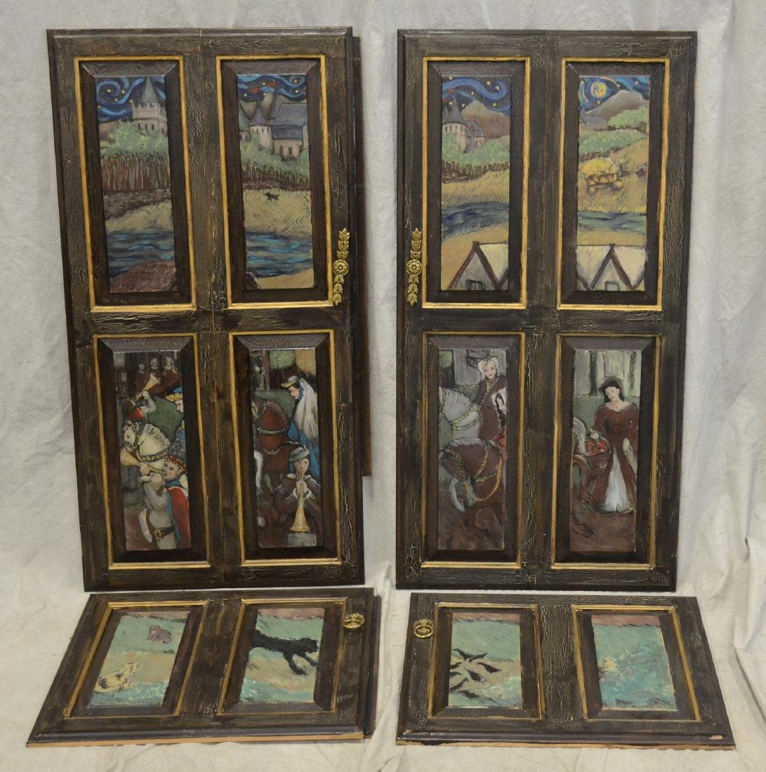 (4) Karen Wolf raised wood painted door panels