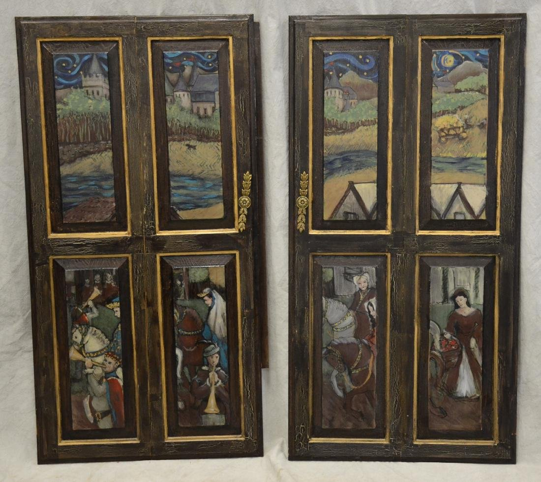 (4) Karen Wolf raised wood painted door panels - 2