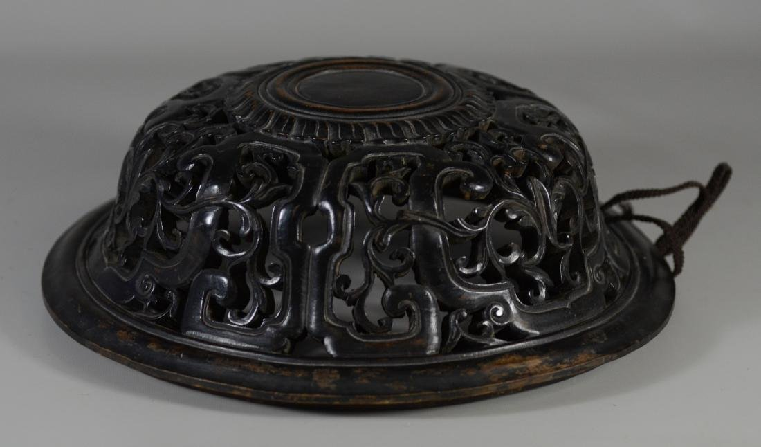 Early Chinese carved hardwood lid
