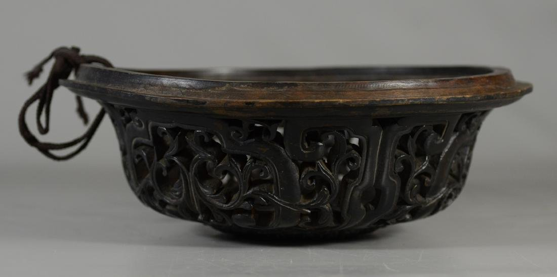Early Chinese carved hardwood lid - 2