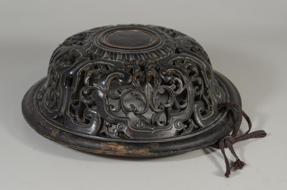 Early Chinese carved hardwood lid - 3
