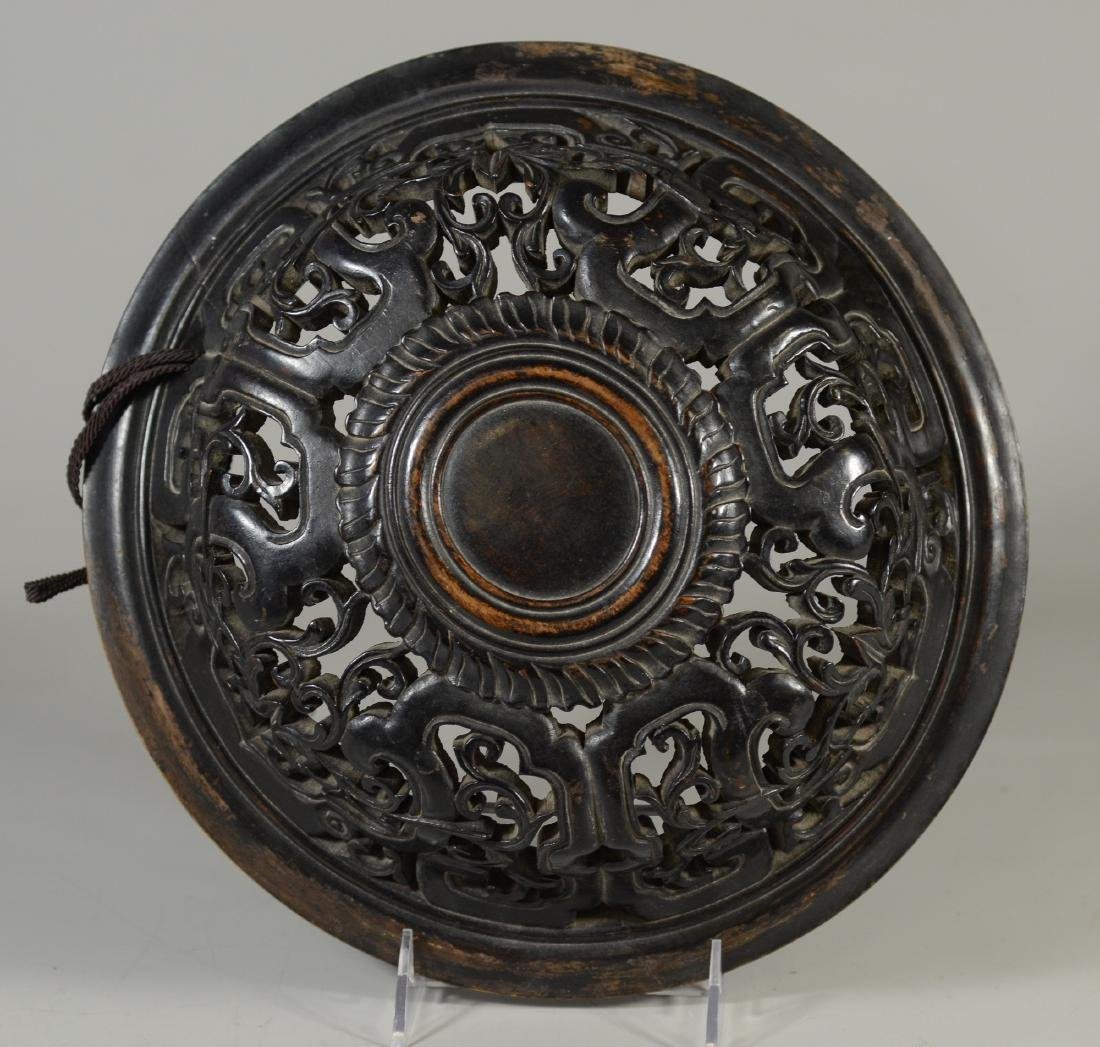 Early Chinese carved hardwood lid - 5