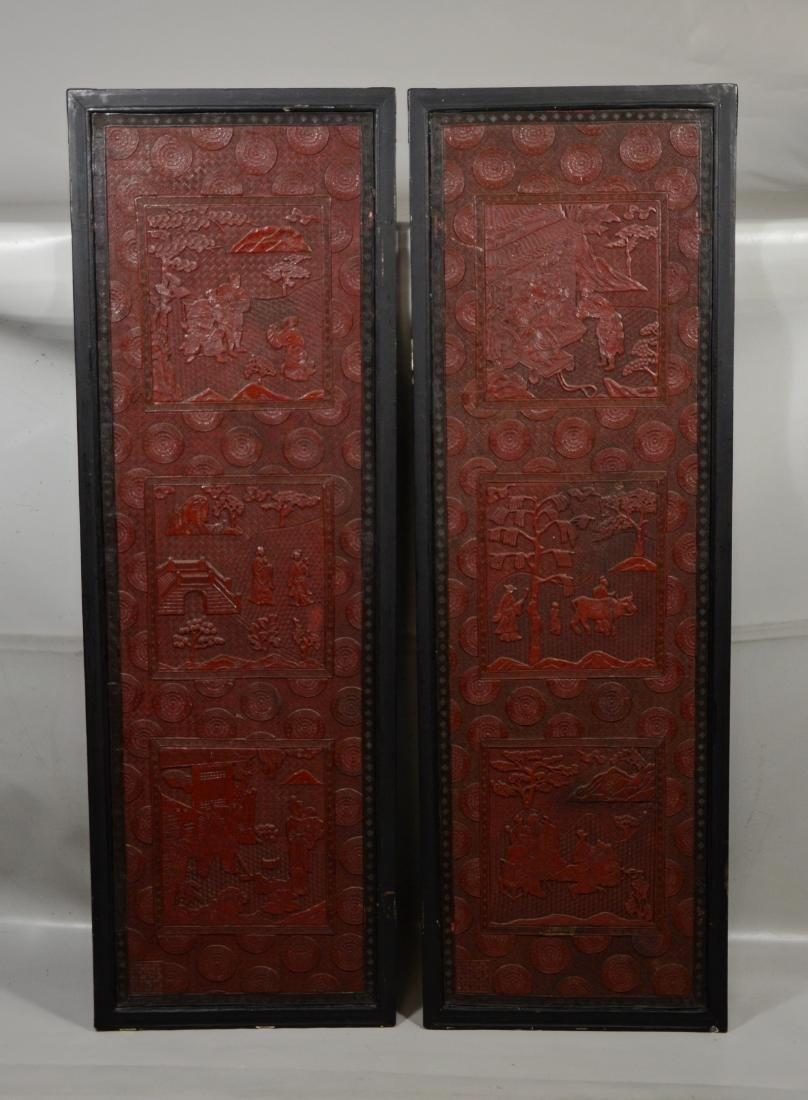 Pair of Chinese carved cinnabar lacquer panels, 46""