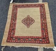 Camel Hamadan Throw Rug, ends frayed