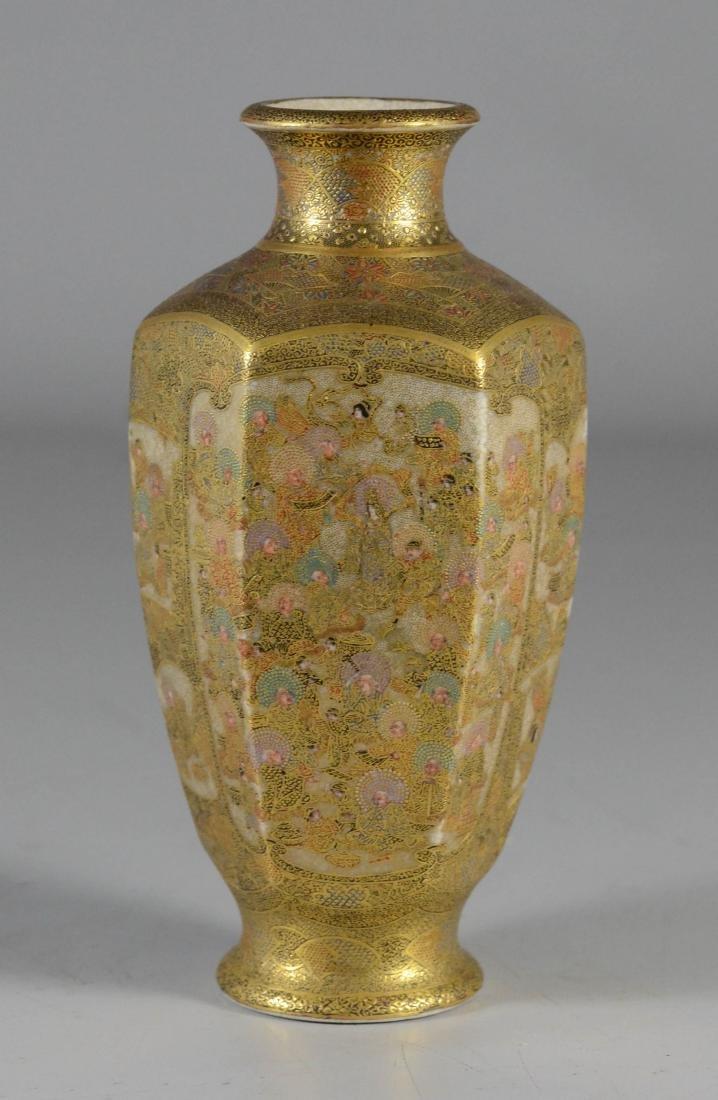 """Satsuma hexagonal vase, Meiji, 6"""" h"""