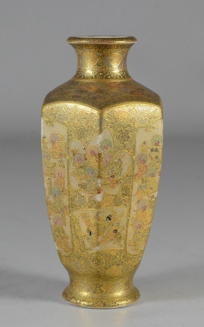 """Satsuma hexagonal vase, Meiji, 6"""" h - 2"""