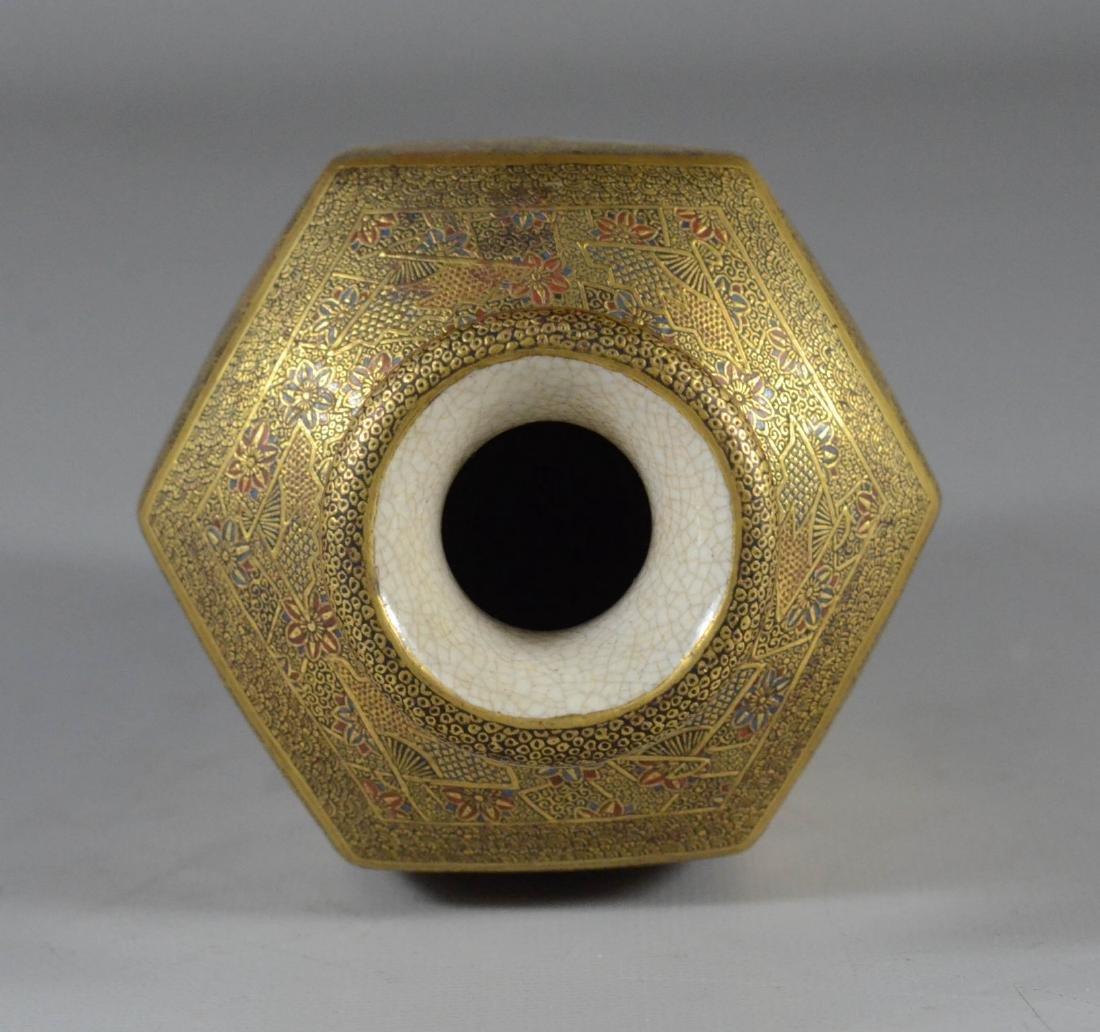 """Satsuma hexagonal vase, Meiji, 6"""" h - 5"""