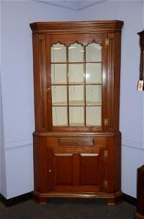 Cherry 2 pc 12 pane corner cabinet