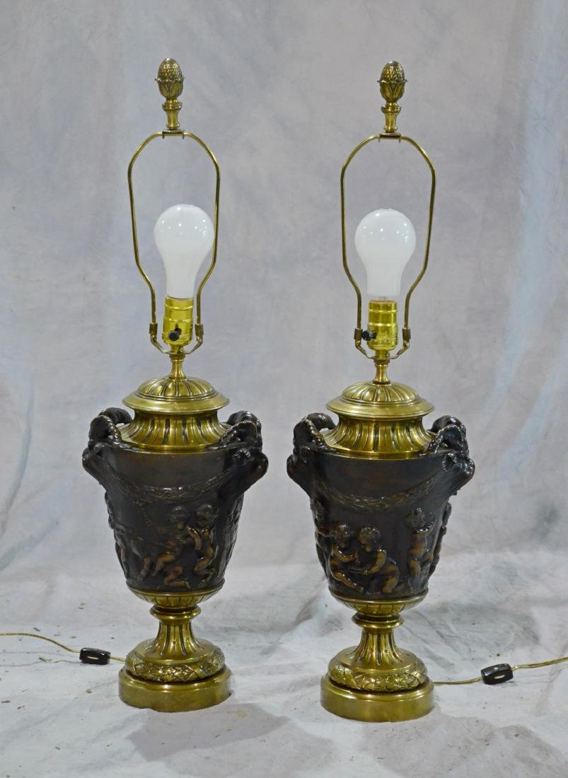 Pr French gilt & patinated bronze vases