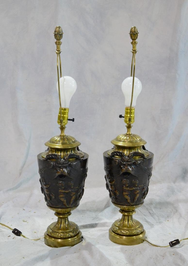 Pr French gilt & patinated bronze vases - 2