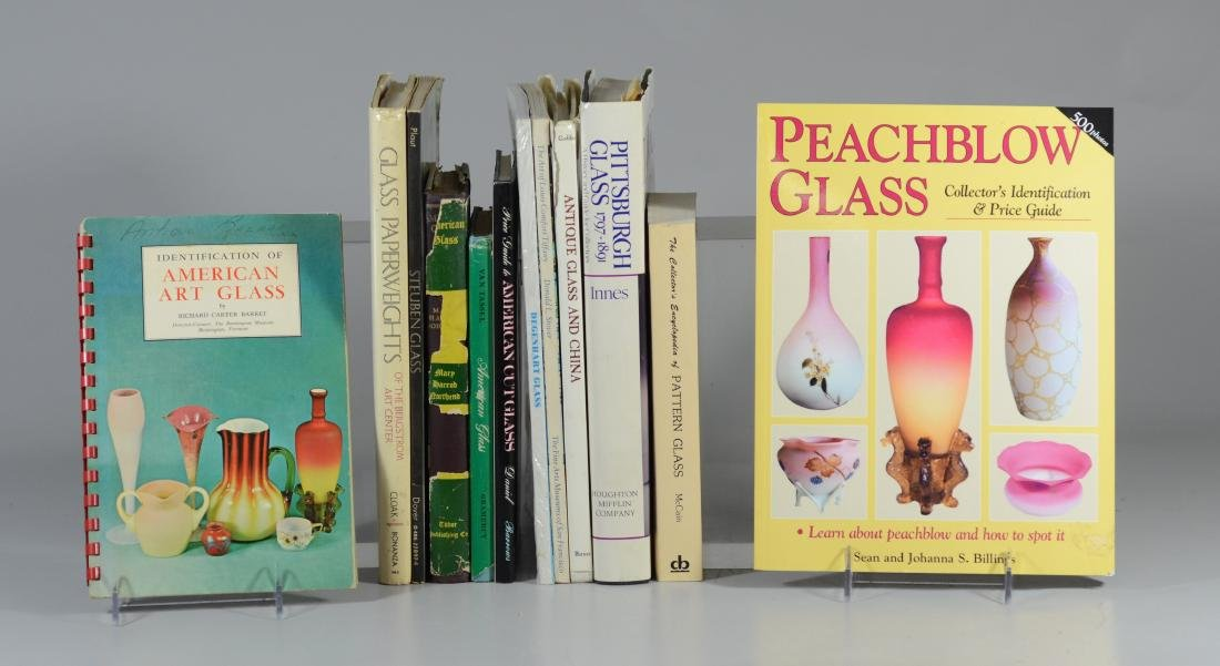 12 reference books on antique glass - 2