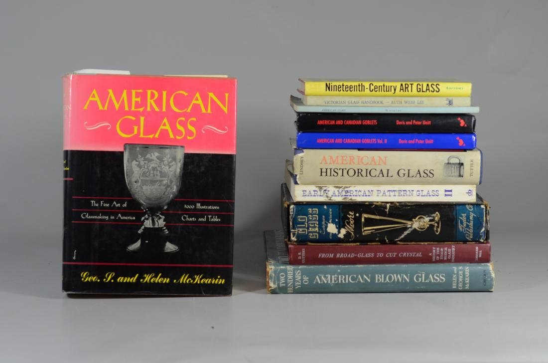 11 reference books on antique glass - 2