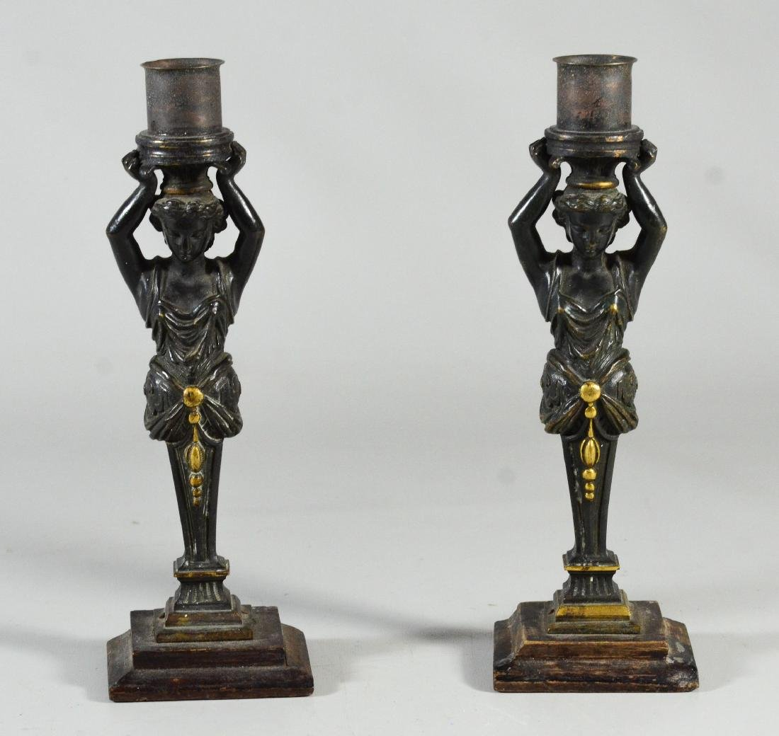 Pr patinated bronze figural candlesticks - 2