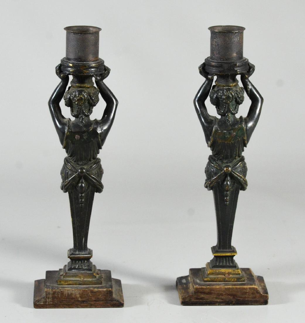 Pr patinated bronze figural candlesticks - 3