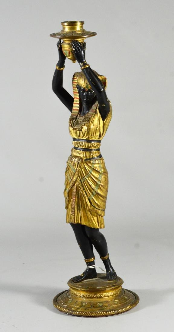 Pr patinated bronze figural candlesticks - 4