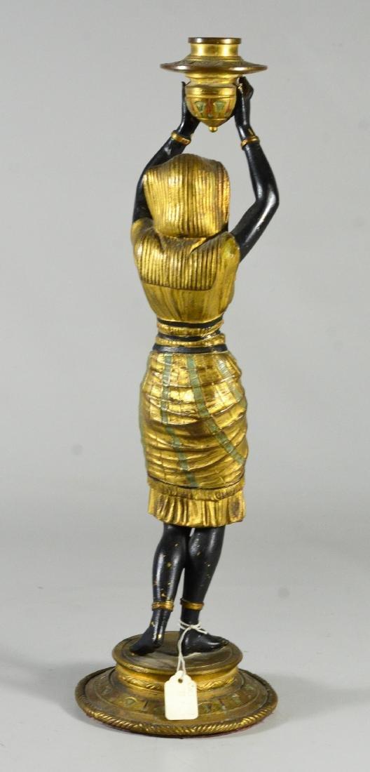 Pr patinated bronze figural candlesticks - 5