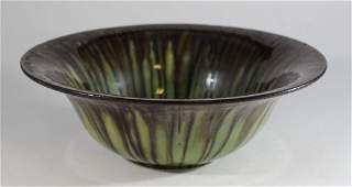 Fulper Arts and Crafts footed bowl with drip glaze