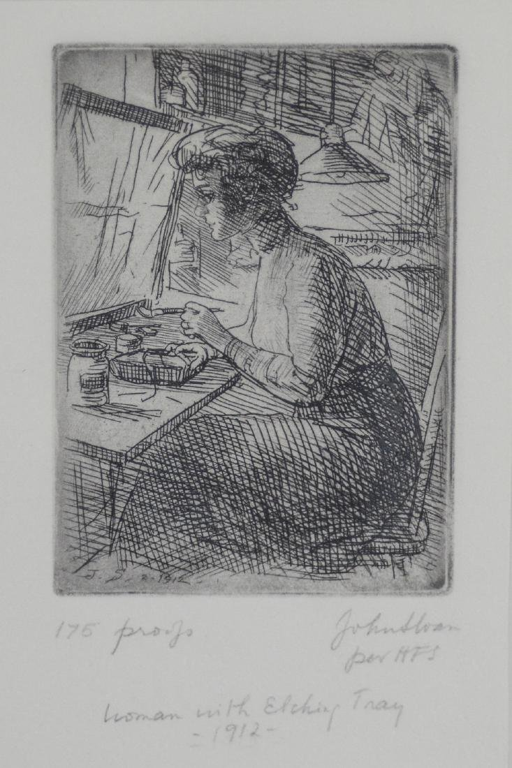 "John Sloan (American 1871-1951), etching ""Woman with"