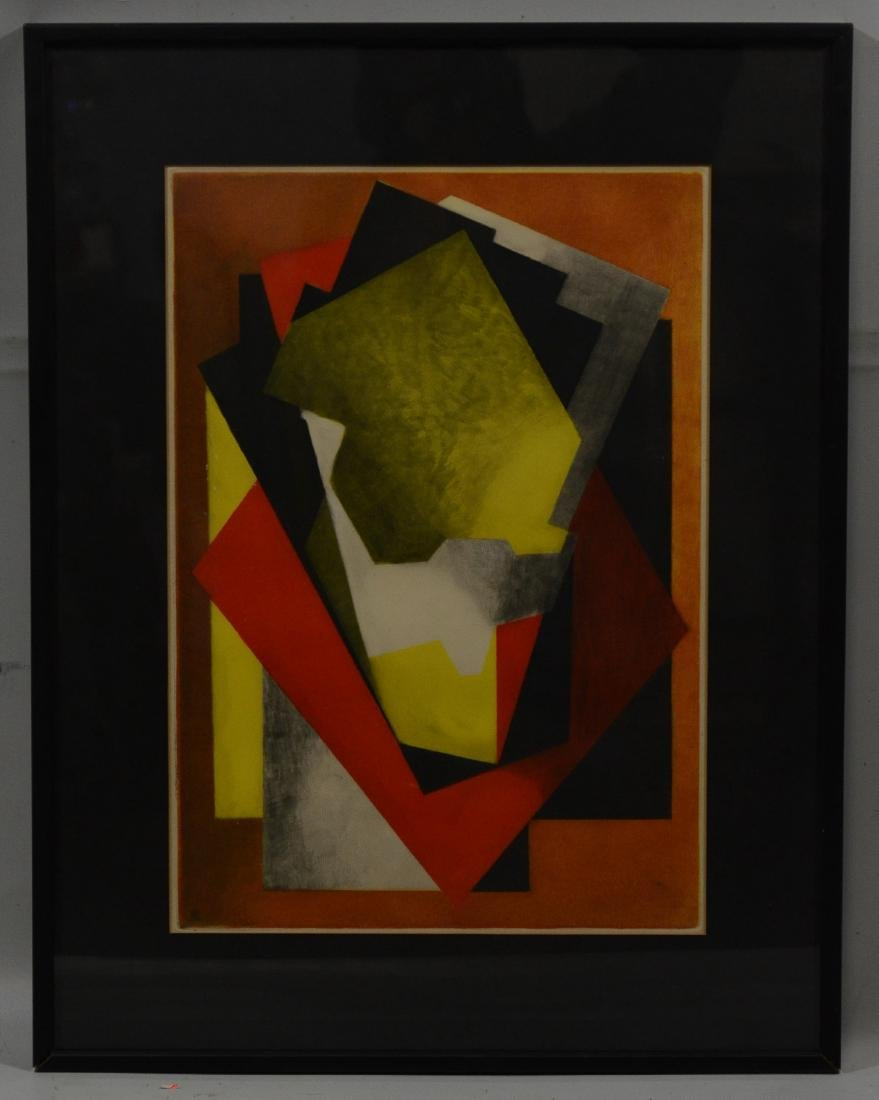 Jacques Villon (French 1875-1963), color etching, abs