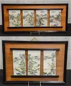 (2) framed groups of Chinese porcelain tiles depictin
