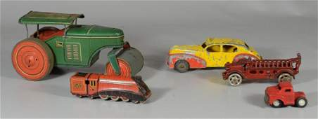 5 Vtg Tin & C/I Toys Antique Fire Truck Metal Taxi ++