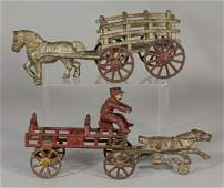 2 Cast Iron Antique Horse  Carriage Toys Unmarked  S