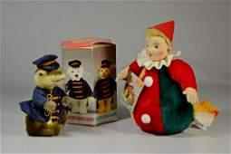 2 Steiff plush toys, Roly-Poly Clown , Crocodile Band