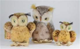 3 Steiff plush Owl Dolls, Wiggi 2625/15 & 2 Wings Out