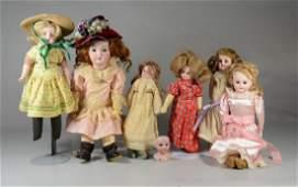 6 Antique German Bisque Head Dolls, Armand Marseille