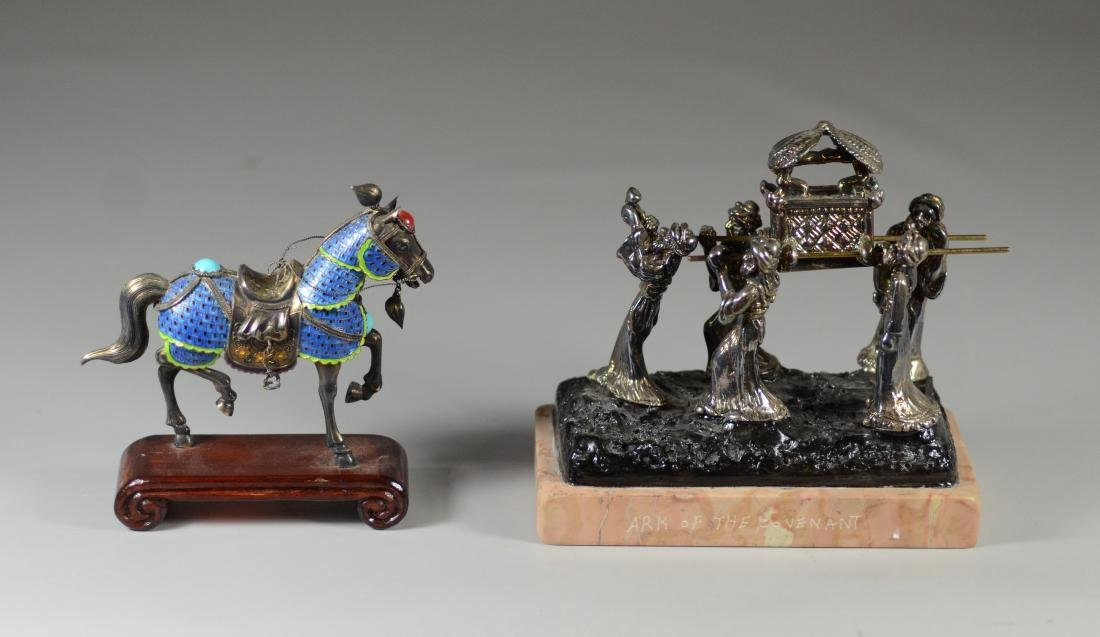 """2 Small silver sculptures, """"Ark of the Covenant"""""""
