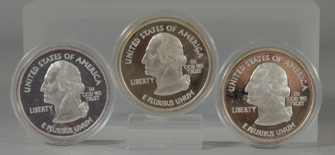 3 National Collectors Mint 1/4 lb .999 silver quarters