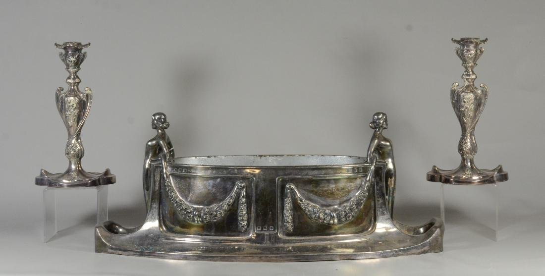 Oval plated silver art nouveau planter with insert,