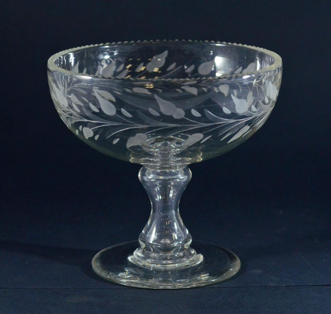 American etched glass compote M Finkel & Daughter